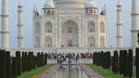 View of the ancient palace of Taj Mahal, India Footage