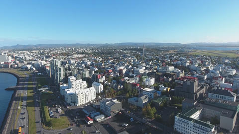Flight of the drone over the family Reykjavik, Iceland Footage