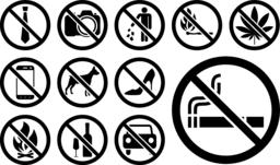 Prohibition signs black set. Vector illustration Vector