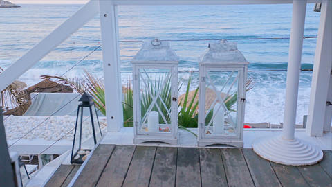 Sea view from the hotel terrace with a romantic lantern Footage