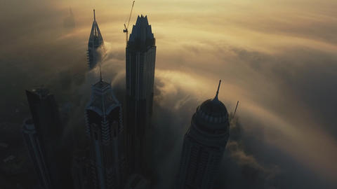 flying among the tallest buildings in Dubai in the morning Footage