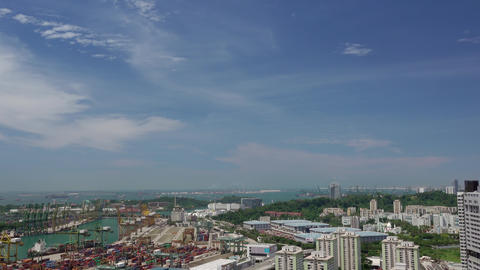 Panorama of Singapore and Container Port. Aerial View Footage