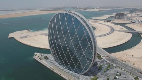 Circular Skyscraper in the Round in Abu Dhabi, United Arab Emirates Footage