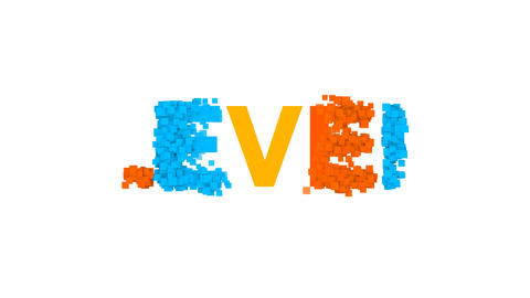 text LEVEL from letters of different colors appears behind small squares. Then Animation
