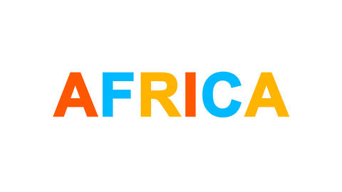 continent name AFRICA from letters of different colors appears behind small Animation