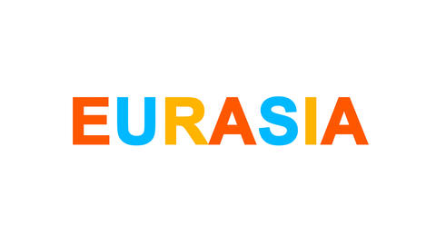 continent name EURASIA from letters of different colors appears behind small Animation