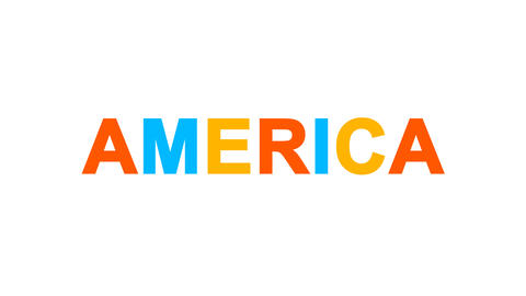continent name AMERICA from letters of different colors appears behind small Animation