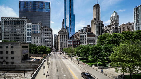 The buildings and traffic in Chicago downtown. Fast forward Footage