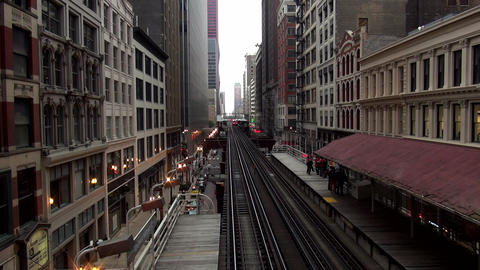 Chicago Metro station subway station between buildings - CHICAGO, ILLINOIS/USA Live Action