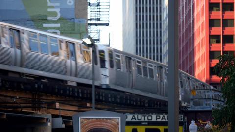 Overground Subway Tracks The Loop Chicago - CHICAGO, ILLINOIS/USA Live Action