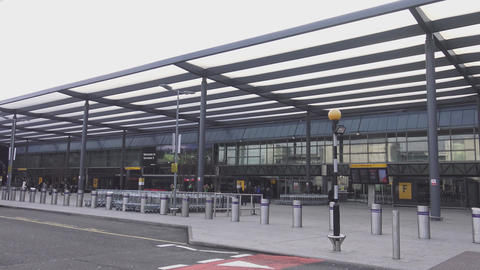 Entrance of London Heathrow Airport Live Action