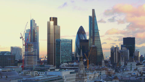The skyscrapers of London's financial district Live Action