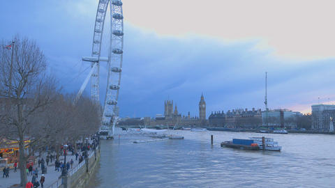 London skyline with London Eye and Westminster Live Action