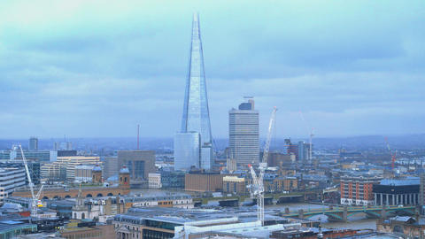 London The Shard Building - aerial view Live Action