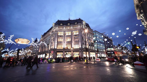 Wide angle shot of London Oxford Circus street view in... Stock Video Footage
