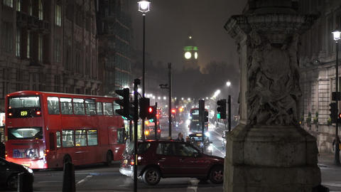 Westminster Big Ben in the mist by night - LONDON, ENGLAND NOVEMBER 20, 2014 Live Action