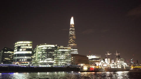 The Shard and More London riverside by night - LONDON, ENGLAND NOVEMBER 20, 2014 Live Action