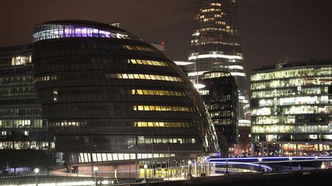 London City Hall by night - LONDON, ENGLAND NOVEMBER 20, 2014 Live Action