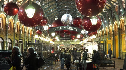 Christmas decorated Covent Garden Apple Market - LONDON, ENGLAND NOVEMBER 20, 20 Live Action