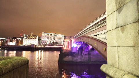 The Blackfriars Bridge London - LONDON, ENGLAND NOVEMBER 20, 2014 Live Action