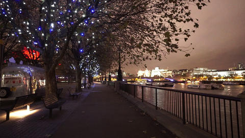 London south bank by night the Queens Walk by night - LONDON, ENGLAND NOVEMBER 2 Footage