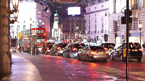 Typical London street view at Picadilly circus - LONDON, ENGLAND NOVEMBER 20, 20 Live Action