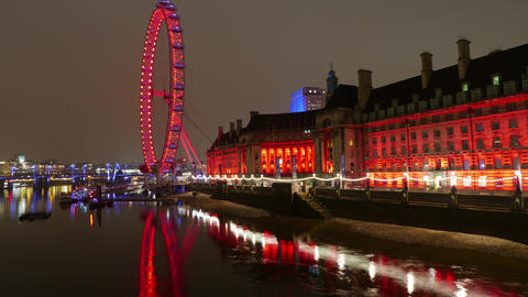 4k - Time lapse shot of Westminster Houses of Parliament and Big Ben at night  Live Action