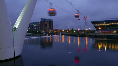 Time-lapse of Emirates Airline aerial passenger tramway London by night – Marc Footage