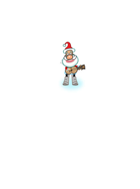 Santa skiing and singing cartoon Animation