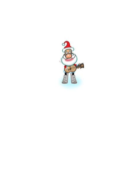Santa skiing and singing cartoon Animation