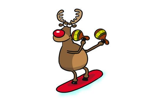 Reindeer snowboarding playing maracas CG動画