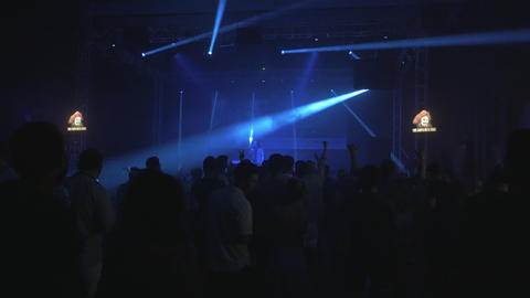 Beatbox MC artist performing on stage during music festival in a concert hall Live Action