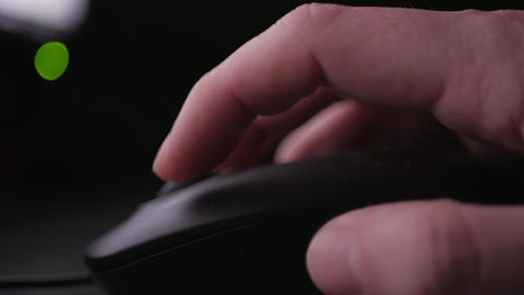 Computer mouse detail close-up footage - hand scrolling and clicking Live Action
