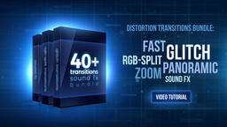 40+ bundle: Glitch, distortion transitions with Sound FX เทมเพลต Premiere Pro