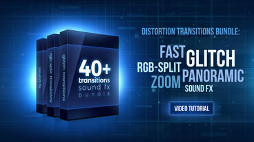 40+ bundle: Glitch, distortion transitions with Sound FX Premiere Pro Template