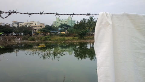 small Indian Laundry on river Bank 영상물
