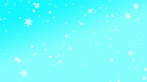 many snowflakes falling skyblue background Animation