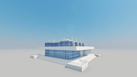 Looking at the Building Skyscraper with the Sun Shining. Side View. Beautiful 3d Archivo