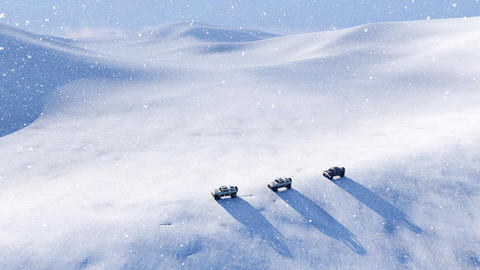 Off road vehicle in snow desert at snowstorm Aerial view Footage