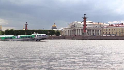 Meteor floats Neva river in Saint Petersburg. Vasilevsky island on a background Footage