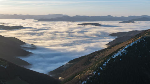 Epic Foggy Morning above Mist Clouds Flows in Winter Mountain Valley Time Lapse Footage