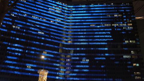 Beautiful illumination on the building Footage
