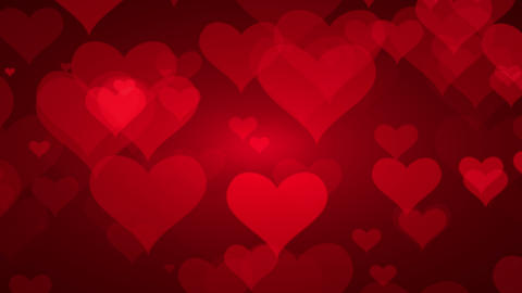 Soft Red Background With Hearts. Valentines Day Concept Animación
