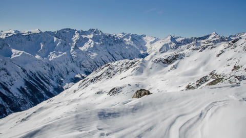 Sunny Winter Day in Snowy Alps Mountains in Solden Valley Time Lapse. Dolly Shot Footage
