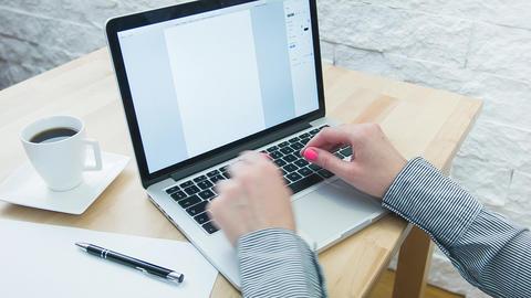 woman writing on computer keyboard 영상물