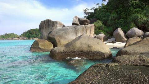 Beach and rocks on Similan islands, Thailand Footage
