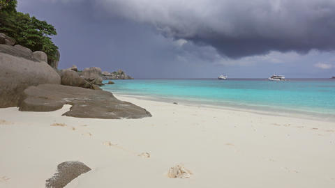 White sand beach and storm sky on Similan islands Footage