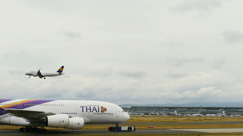 Airbus A380 is pulled in tow Live Action