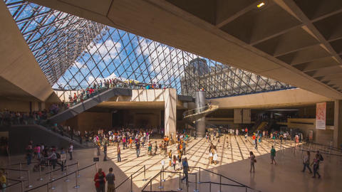 inside the glass pyramid of the Louvre (Paris) France Footage