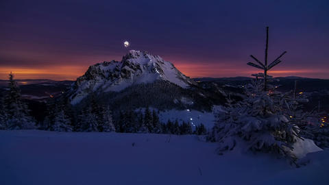 Epic night climb to the mountains summit illuminated with lights headlamps, time Footage